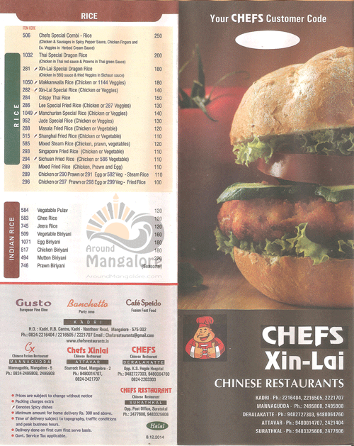 Food Menu - Chefs Xinlai Restaurant, Mangalore - AroundMangalore