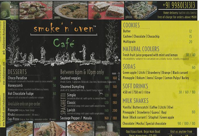 Menu - Smoke N Oven, Mangalore