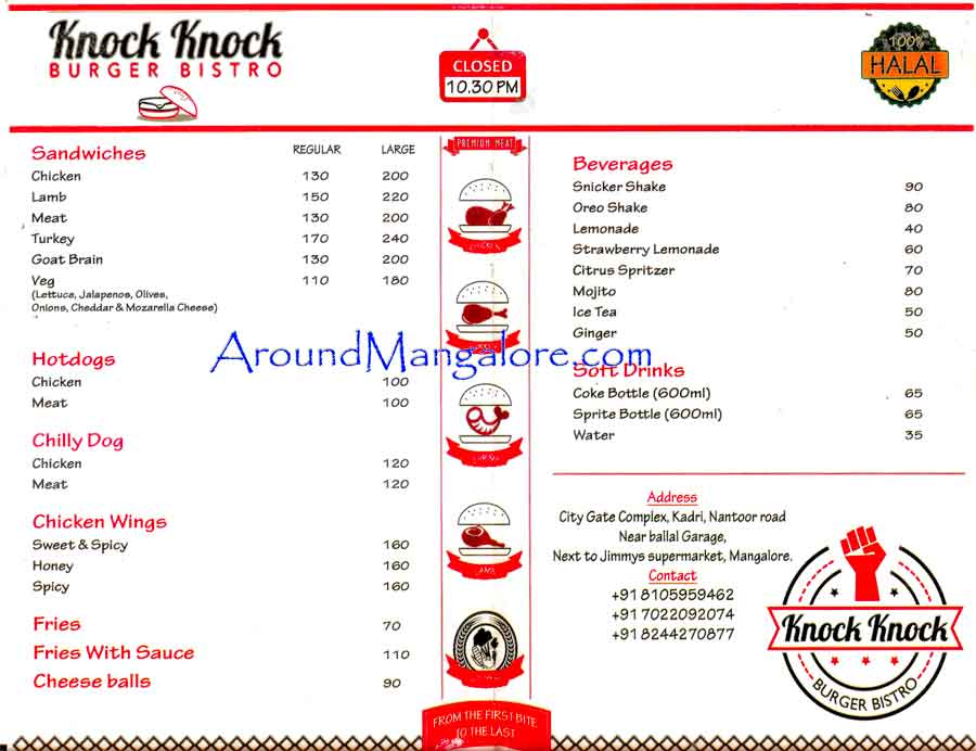 Food Menu - Knock Knock - Burger Bistro, Mangalore
