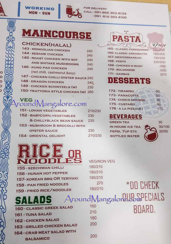 Food Menu - Trattoria - Oven Pizza - Balmatta, Mangalore