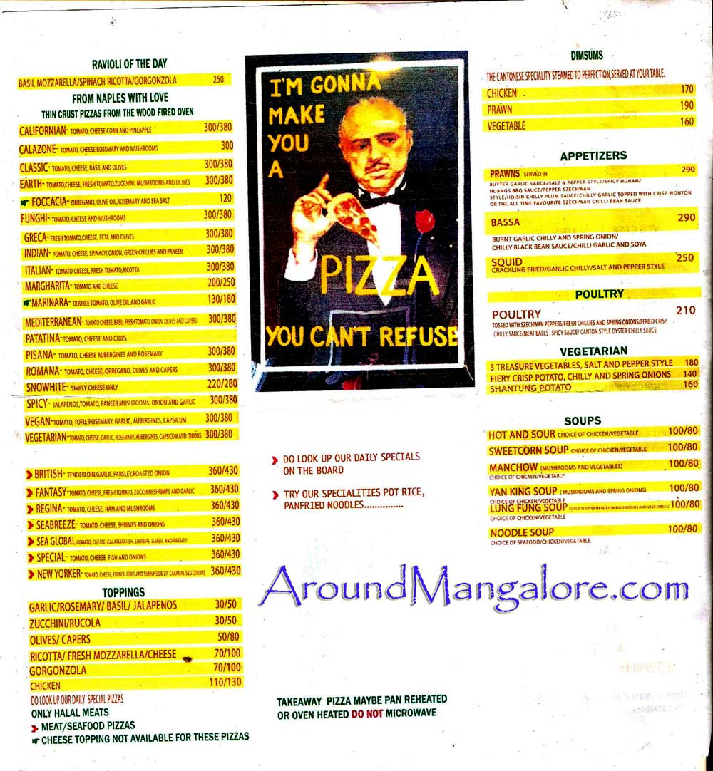 Food (Pizza) Menu - Trattoria - Restaurant - Balmatta‎, Mangalore