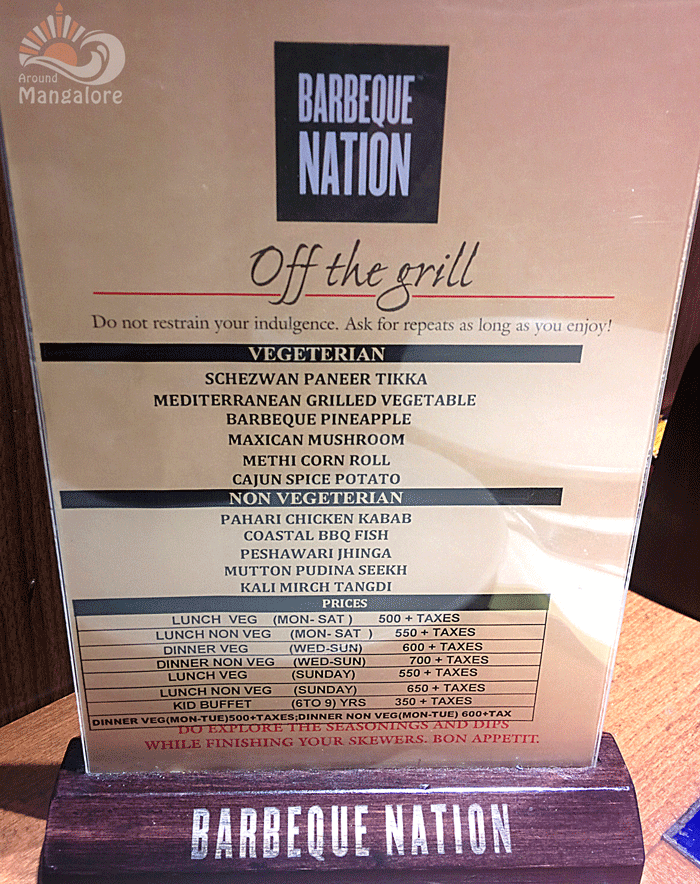 Menu - Barbeque Nation, Mangalore