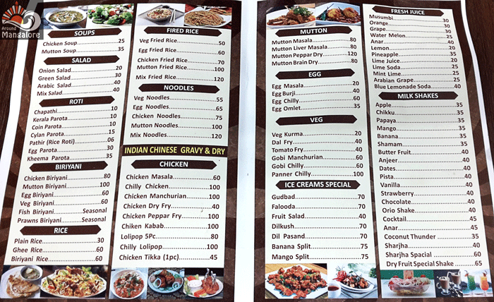Menu - Food Junction, Mangalore