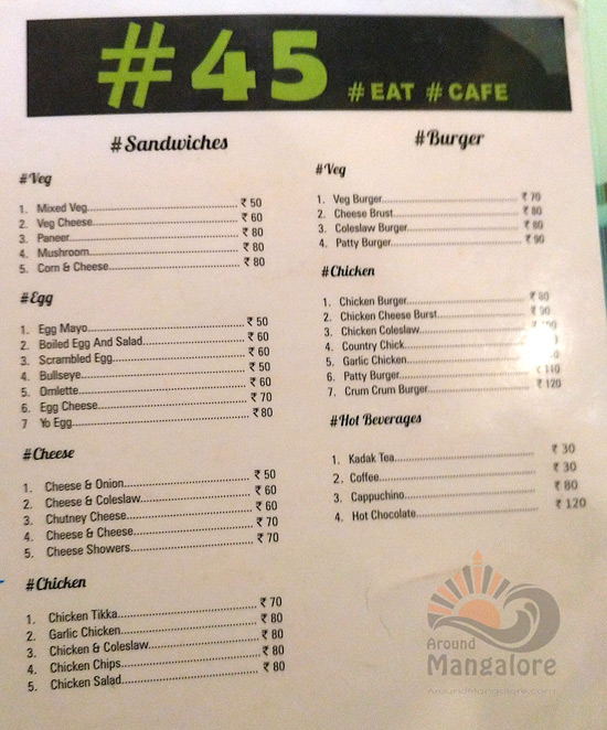Food Menu - No 45 Cafe - # 45 - Attavar, Mangalore