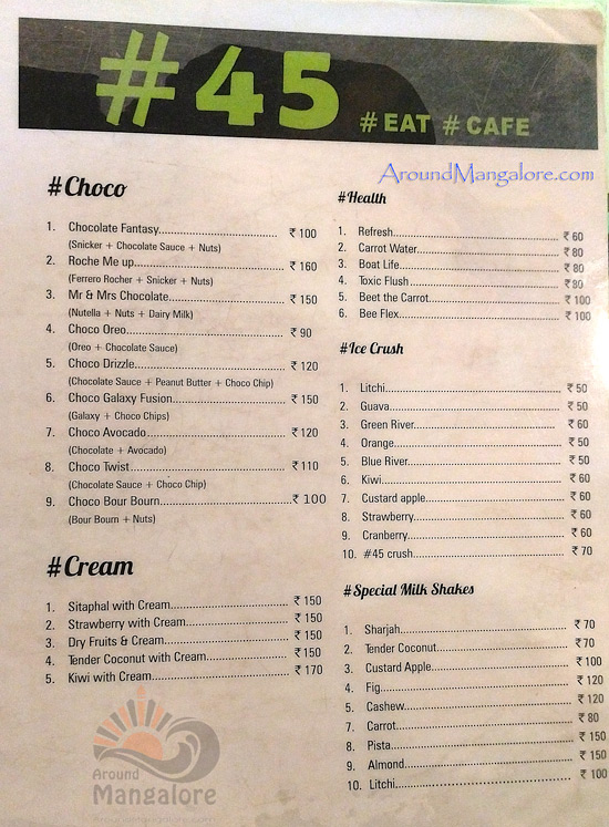 Food Menu - No 45 Cafe - # 45 - Attavar, Mangalore