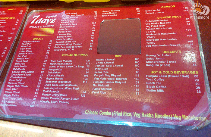 Menu - SRS 7 Days Chaats & Sweets
