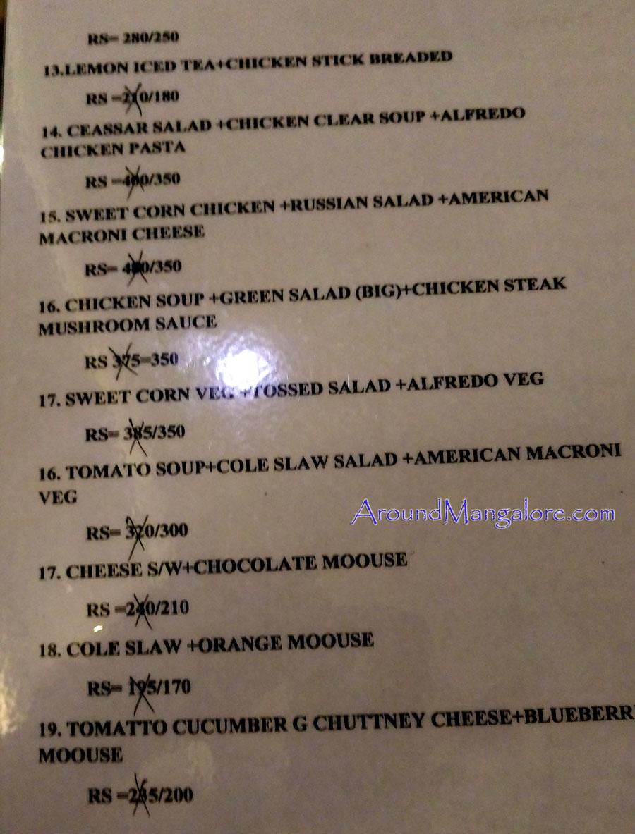 Combos Food Menu - The Cafe - Kankanady, Mangalore