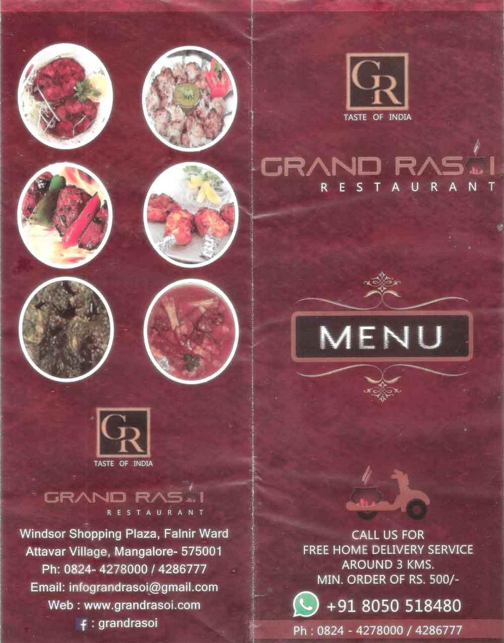 Food Menu - Grand Rasoi Restaurant - Attavar, Mangalore