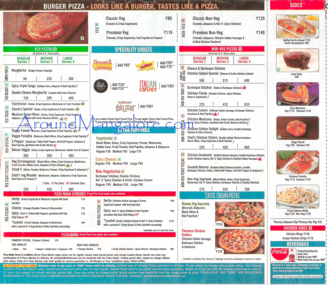 Pizza Menu - Dominos Pizza, Mangalore