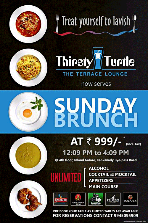 Sunday Brunch - Thirsty Turtle – The Terrace Lounge, Mangalore