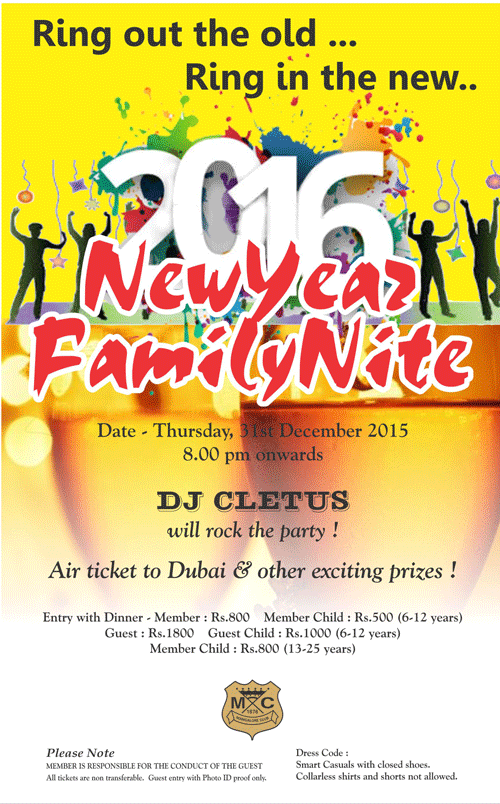 2016 New Year Family Nite - DJ Cletus - Mangalore Club