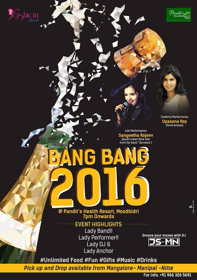 New Year 2016 Party's - BANG BANG 2016 - Pandits Resort