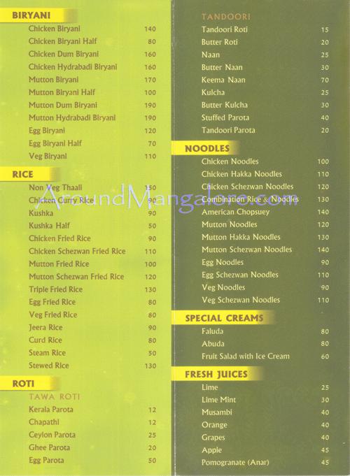 Royal Kitchen Mangalore Menu
