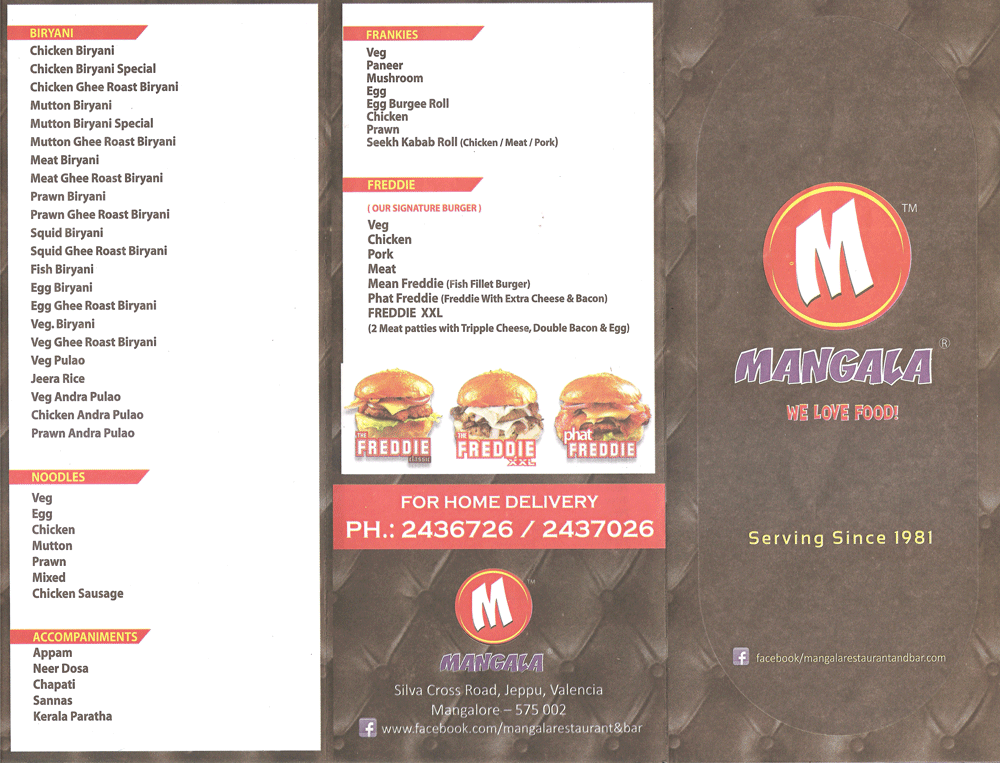 Food Menu - Mangala Restaurant & Bar, Mangalore