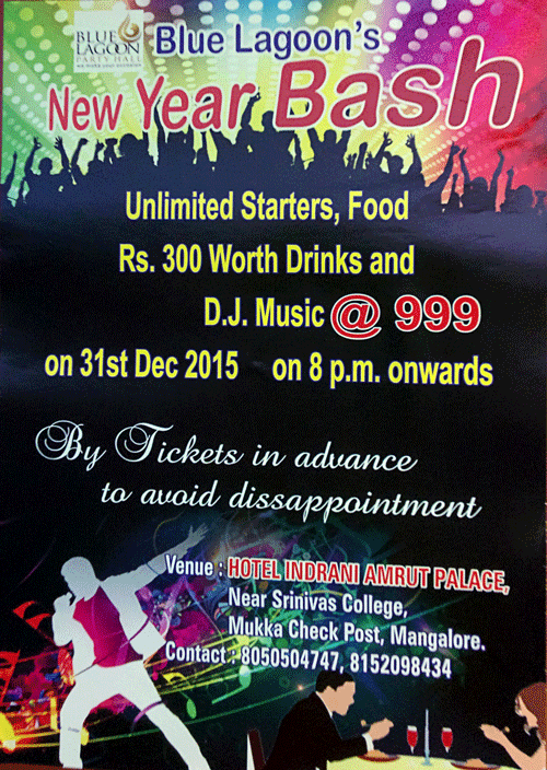 New Year Bash - Hotel Indrani Amrut Palace, Mukka