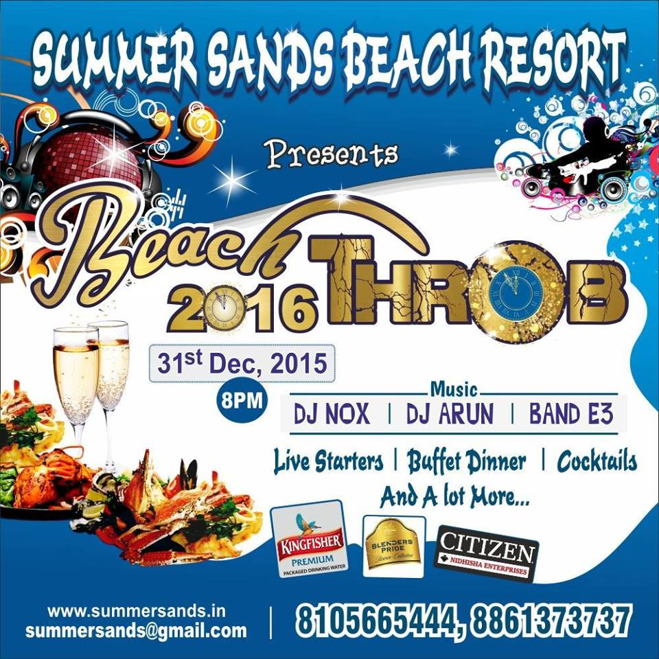New Year 2016 Party's - Beach Throb 2016 - Summer Sands Beach Resort