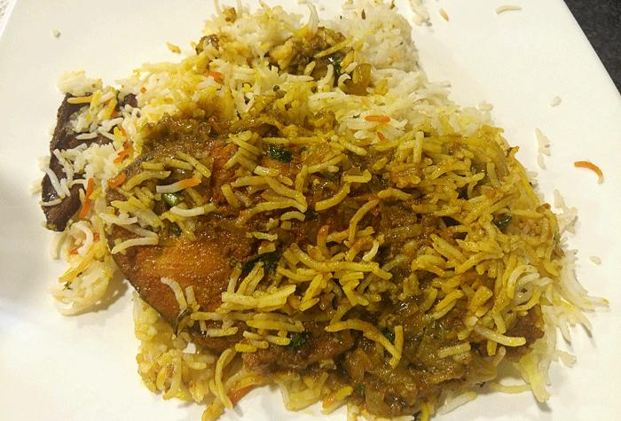 Anjal-Fish-Biriyani- Kairali Oottupura / Malabar Kitchen - Hotel Malabar Regency, Pumpwell, Mangalore
