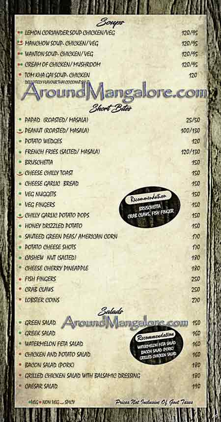 Food Menu - Spindrift, Mangalore
