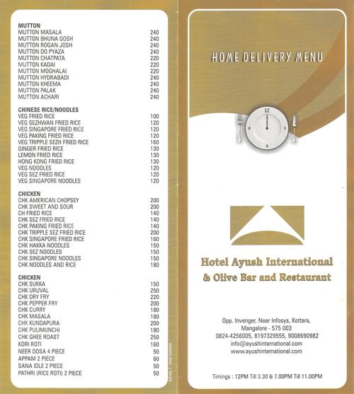 Food Menu - Olive Bar and Restaurant - Hotel Ayush International, Mangalore