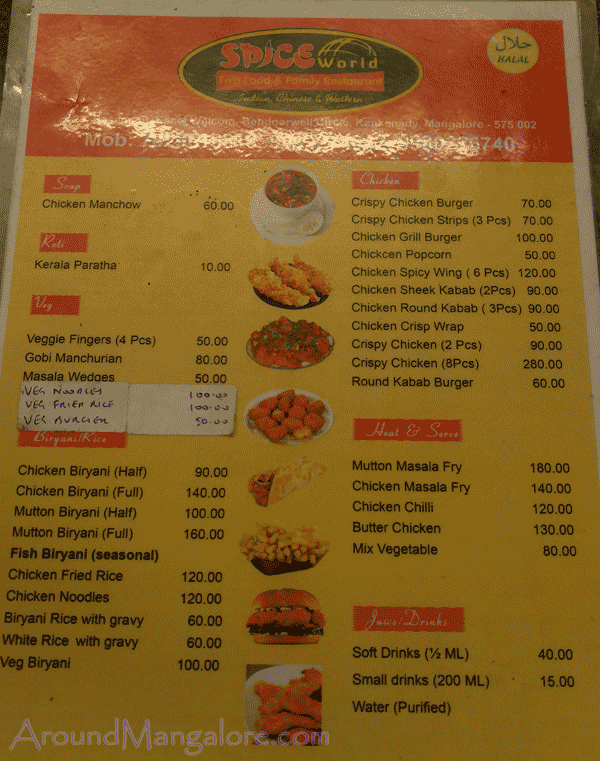 Food Menu - SPICE World - Fast Food & Family Restaurant
