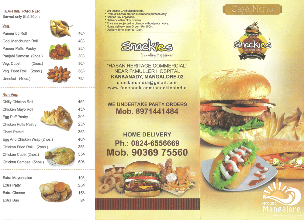 Food Menu - Snackies, Kankanady, Mangalore - Cafe - Cakes - Pastries - Snacks
