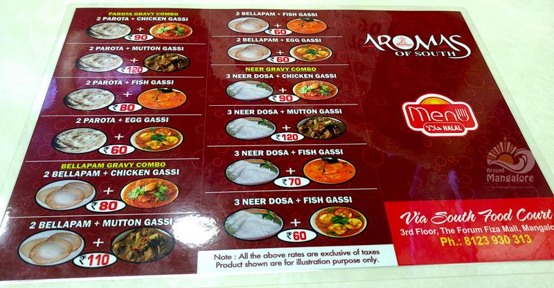 Food Menu - Aromas of South - The Forum Fiza Mall, Mangalore