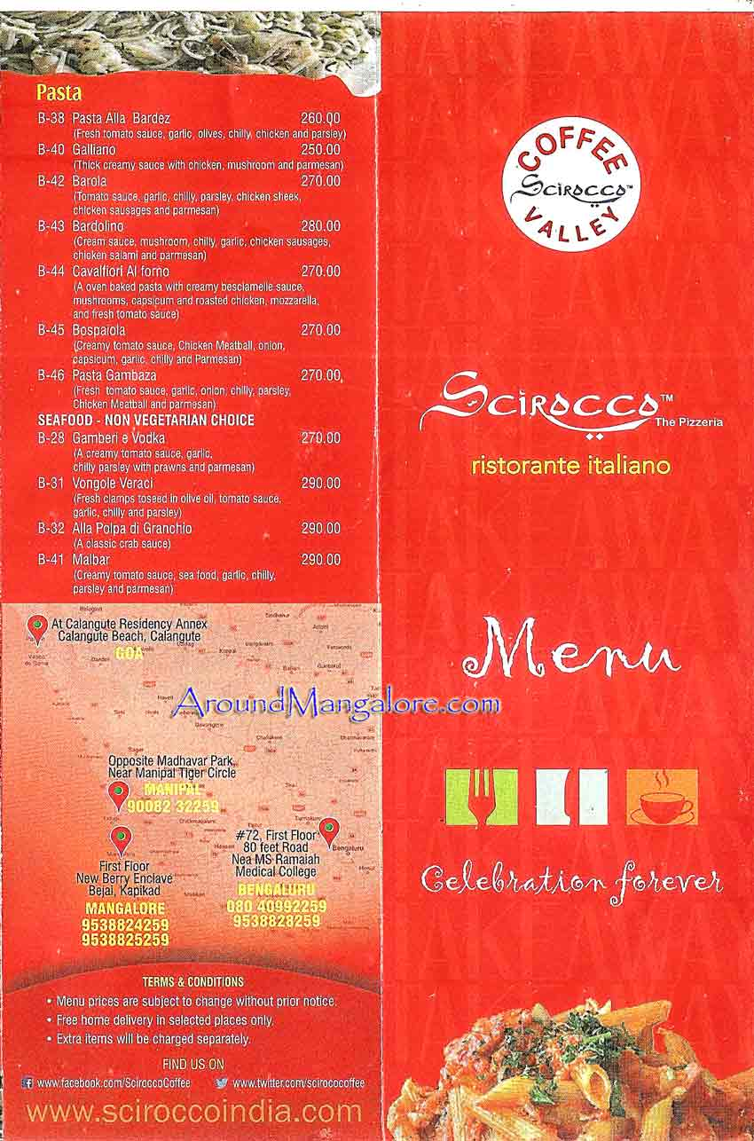 Food Menu - Scirocco - The Pizzeria - Italian Restaurant - Mangalore