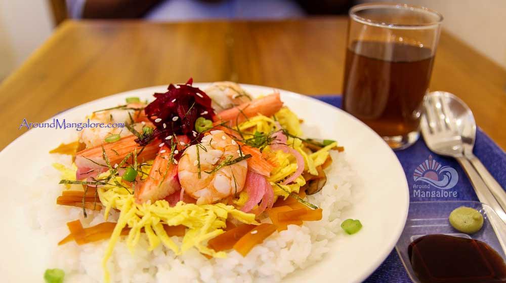 Chirashi Zushi (with Mugi-Cha) Japanese Cafe – Tokimeki, Mangalore