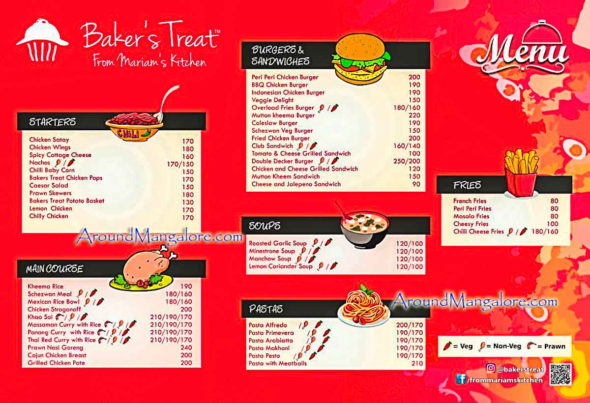 Food Menu - Bakers Treat