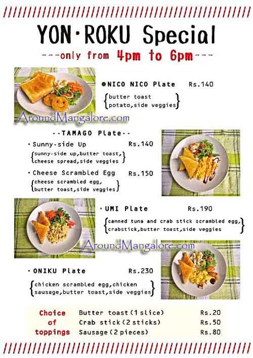 Food Menu – Japanese Cafe – Tokimeki – Attavar, Mangalore