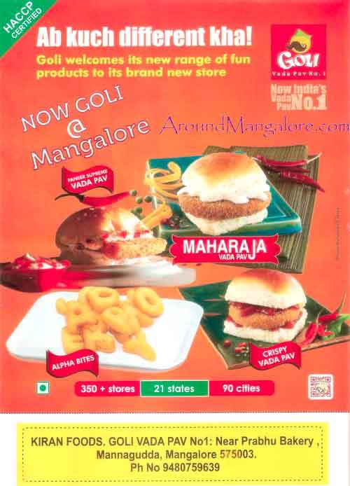 Food Menu - Goli Vada Pav No 1 - Kiran Foods, Mannagudda, Mangalore