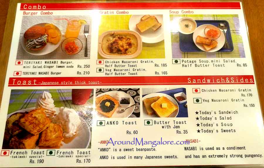 Food Menu - Japanese Cafe - Tokimeki - Attavar, Mangalore