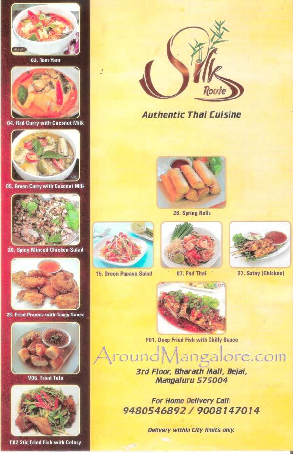 Food Menu - Silk Route - Authentic Thai Cuisine - Bharath Mall, Bejai, Mangalore