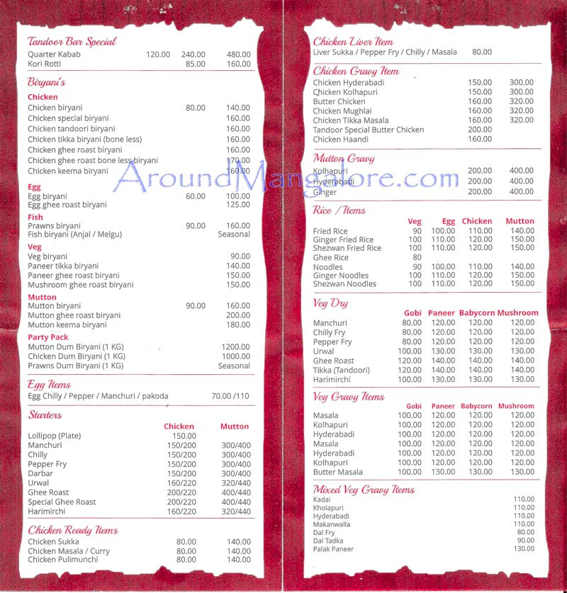 Food Menu - Tandoor Express – Tandoor Bar & Restaurant - Karangalpady, Mangalore
