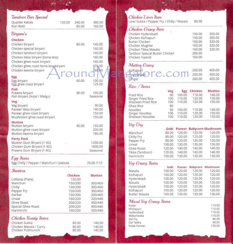 Food Menu - Tandoor Express – Tandoor Bar & Restaurant - Karangalpady, Mangalore