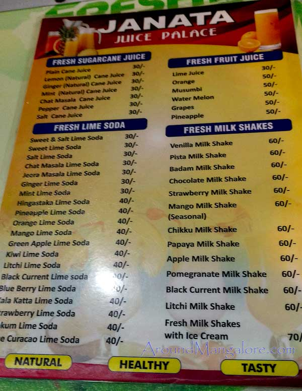 Juice Menu - Juice Palace - Fresh Sugar-cane Juice - Bharath Mall, Bejai, Mangalore