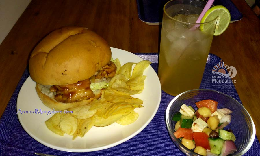 Teriyaki Wasabi Burger - Mini Salad, Ginger, Lemon Soad - Japanese Cafe - Tokimeki - Attavar, Mangalore