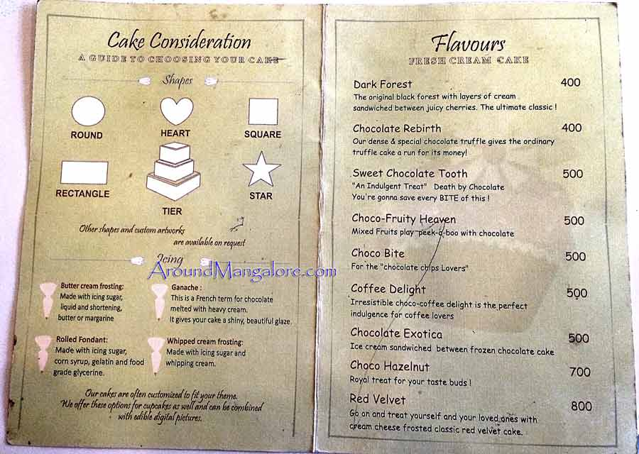 Cake Menu (Food Menu) - The Sweet Life - Cake Shop - Attavar, Mangalore