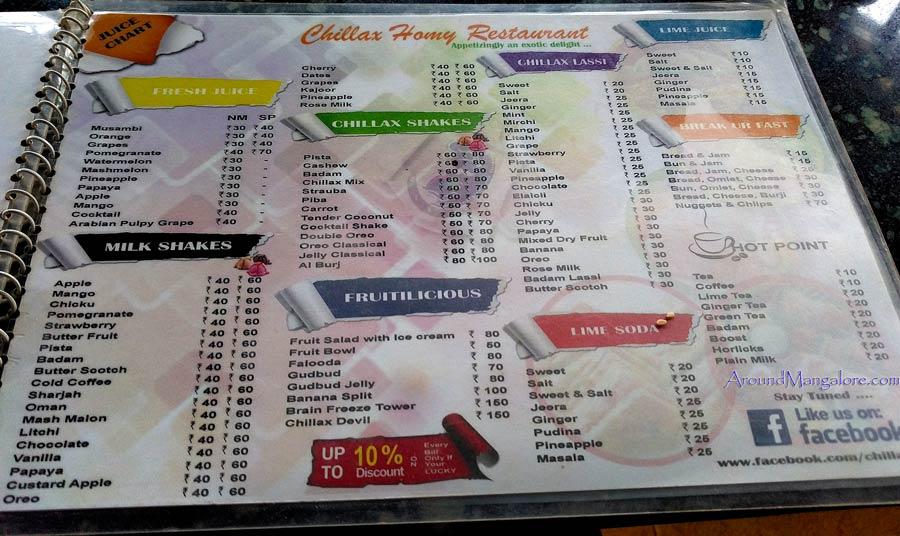 Food Menu - Chillax Homy Restaurant - Deralakatte, Mangalore