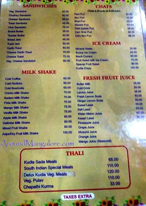 Food Menu - Kudla Veg Restaurant - Balmatta, Mangalore