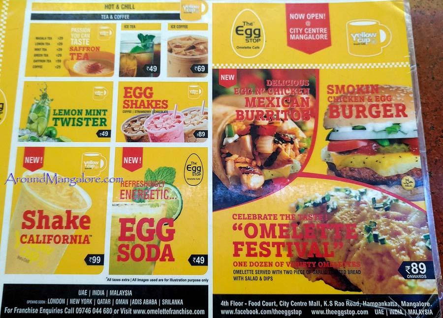 Food Menu - The Egg Stop - Omelette Cafe - City Centre, Mangalore