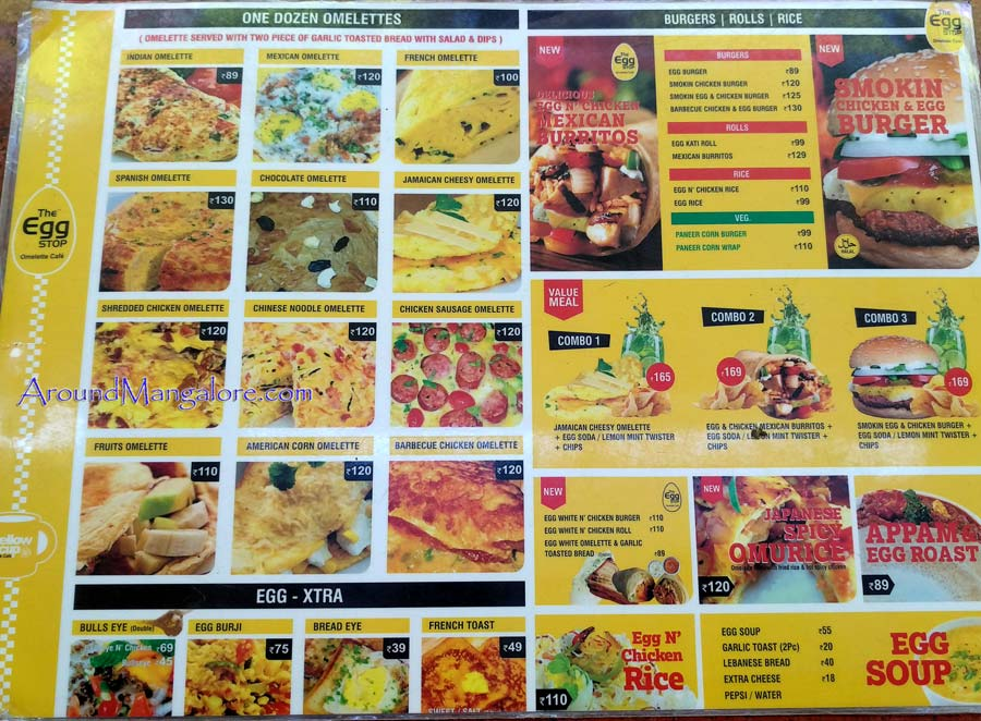 Food Menu - The Egg Stop - Omelette Cafe - City Centre, Mangalore