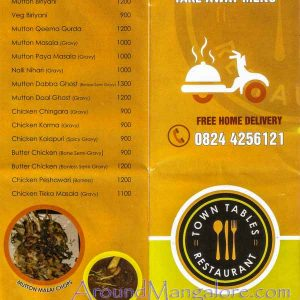 Food Menu - Town Tables Restaurant - Attavar, Mangalore