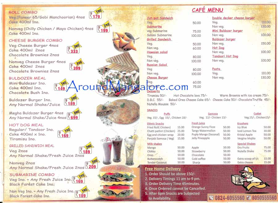 Food n Cafe Menu - Snackies - Falnir, Mangalore