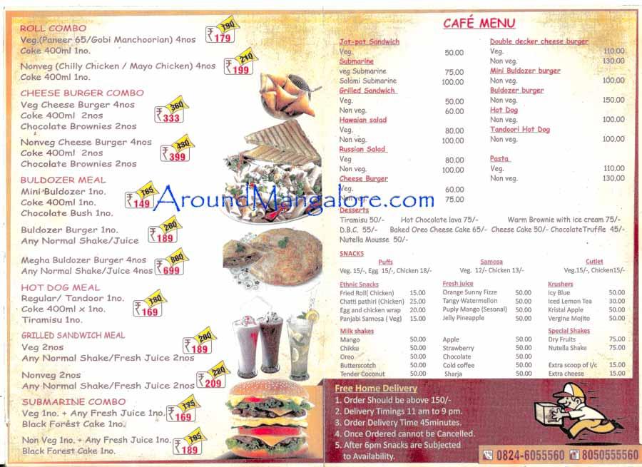 Food n Cafe Menu - Snackies - Falnir, Mangalore