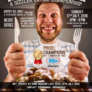 Man Vs Sizzler - A Sizzler Eating Championship - Jul 2016 - Kobe Sizzlers, Mangalore