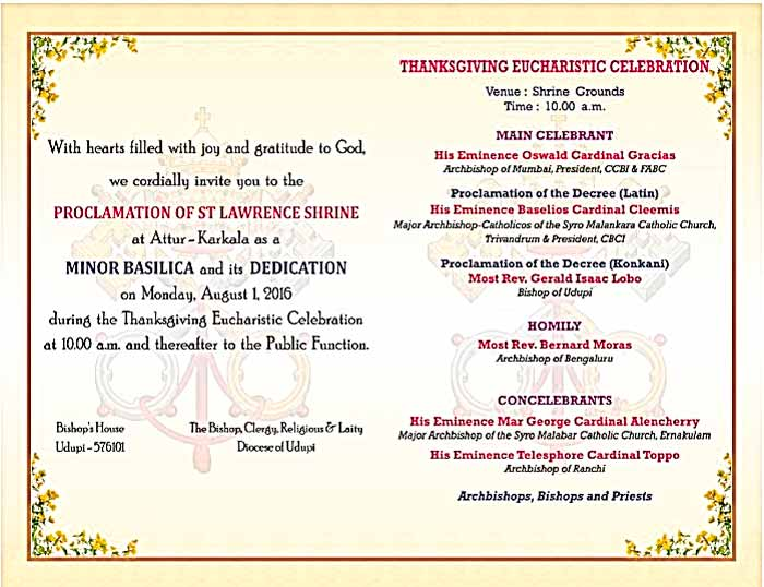 Proclamation of St Lawrence Shrine, Attur, Karkala - Minor Basilica - 01 Aug 2016