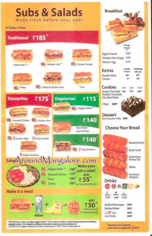 Sub n Salad Menu - Subway - Bendoorwell, Mangalore