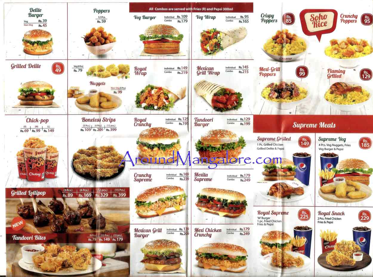 Food Menu - Chicking - Fried Chicken - Forum Fiza Mall - Mangalore