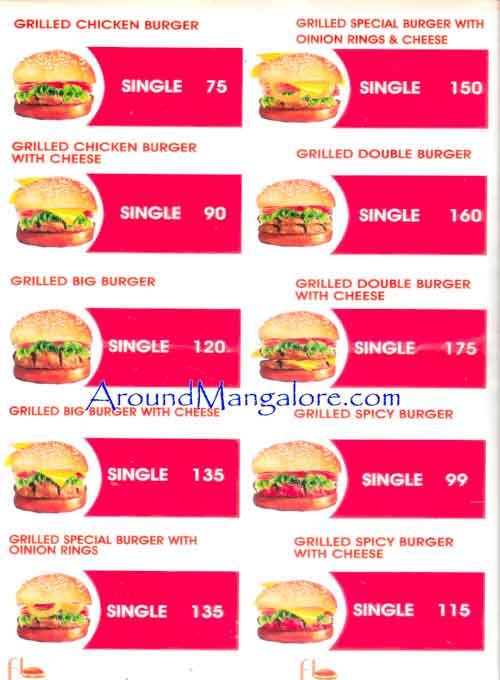 Food Menu - The Fresh - Burger Grill, Empire Mall, Mangalore
